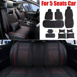 11pcs Deluxe Pu Leather Full Cushion Cover Pillows For Universal Car 5 Seat Us