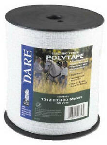 Electric Fence Tape White Poly 5 wire Stainless Steel 1 2 In X 1 312 ft