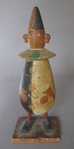 Antique Folk Art Carved Painted Wood Clown Candy Container Late 19 Early 20th C