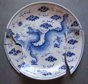 Chinese Export Porcelain Blue White Dragon Fiery Pearl Dish For Restoration