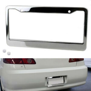 1pcs Chrome Stainless Steel Metal License Plate Frame Tagcover With Screw Capsgn