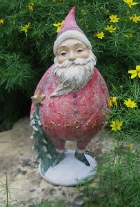 Red Santa Sculpture W Christmas Tree Primitive Home French Country Mantel Decor