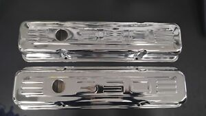 58 86 Sbc Chevy Chrome 350 Logo Short Valve Covers Small Block 283 327 400