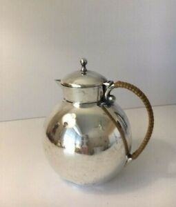 Georg Jensen Inc Usa Sterling Silver Small Teapot 300 Handle With Tan Weave