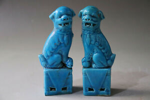 Chinese A Pair Blue Glaze Porcelain Figurines Statues Foo Dog