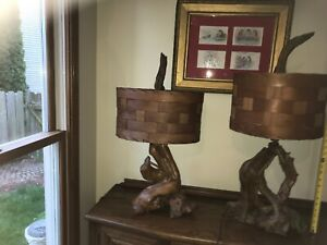 Pair Mid Century Wooden Shade Era Large Scale Driftwood Table Lamps Unique