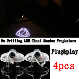 4pc White Logo Led Car Door Projector Welcome Light Kit For Mazda Rx 8 2001 2018