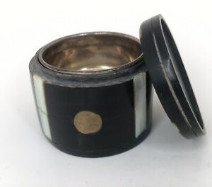 Antique 1800 S Water Buffalo Horn And Gorham Sterling Silver Snuff Box