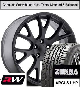 22 X9 5 Inch Dodge Challenger Hellcat Replica Wheels Tires Tpms Gloss Black Rims