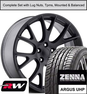 22 X9 5 Inch Dodge Charger Hellcat Replica Wheels Tires Tpms Gloss Black Rims