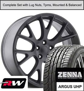 22 X9 5 Inch Dodge Charger Hellcat Replica Wheels Tires Tpms Matte Black Rims