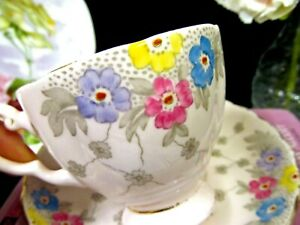 Tuscan Tea Cup And Saucer Painted Pink Teacup Beaded Floral Pattern