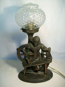 Antique Table Lamp Art Deco Cast Metal Woman With Spinning Wheel 1930 S