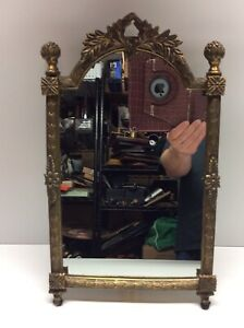 Vintage Solid Brass Gilded Vanity Table Top Mirror With Stand R5