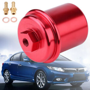 New Racing Red Cnc Billet Washable High Flow Fuel Filter For Honda Civic Prelude