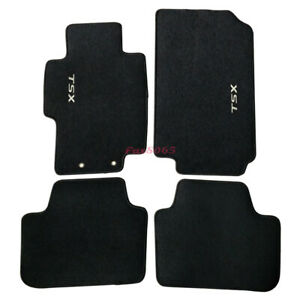 For 04 08 Acura Tsx Black Nylon Floor Mats Carpets W Tsx Embroidery