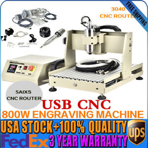 Usb 5axis Cnc 3040 Router Mill Drill Engraving Machine 0 8kw Vfd Water cooled