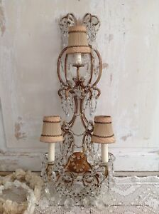 Antique Italian Beaded 3 Light Sconce Dripping W Macaroni Swags