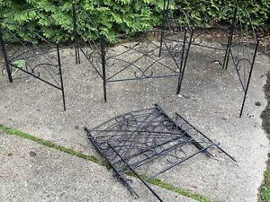 Lot Of 11 Vintage Steel Garden Newel Finial Heavy Interlocking Fence About 18