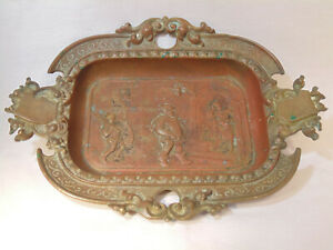 Antique Art Nouveau Footed Bronze Deep Dish Tray Holder Tiffany Like
