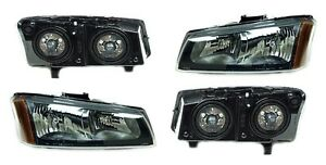 New Headlight Pair For 2005 2007 Chevy Silverado 1500 2500 3500 Hd
