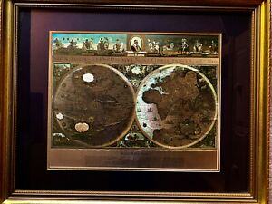 Framed Gold Foil Blaue Wall Map Old And New World