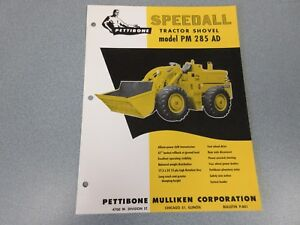 Rare Pettibone Speedall Pm 285ad Tractor Shovel Sales Sheet