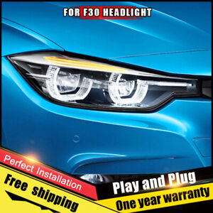For Bmw 3 Series F30 12 16 Headlights Assembly Bi Xenon Lens Double Beam Hid Kit