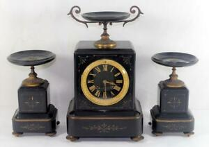 Antique C 1883 Japy Freres French Mantle Clock W Garnitures