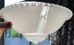 Antique Vintage Art Deco Three Mount Ceiling Light Fixture Glass Dome Lampshade