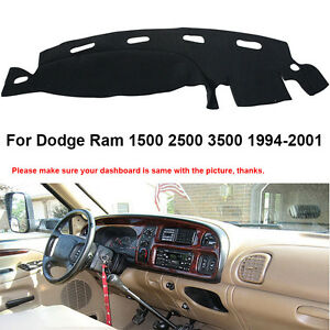 Dash Mat For 1998 2001 Dodge Ram 1500 2500 3500 Black Dashboard Cover Pad Fly5d