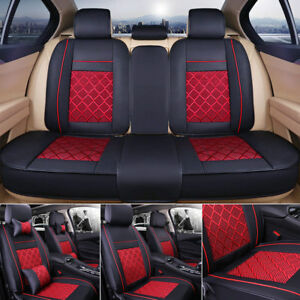 Us 5 seat Suv Seat Cover Cooling Mesh Pu Leather Car Cushion Front rear W pillow