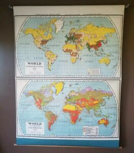 1920s Era Nystrom Atwood World Map Population Occupation Wall Pull Down School