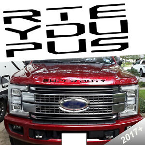 For Ford 2017 And Up Matte Black Super Duty Front Hood Insert Kk Decal Sticker