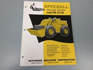 Rare Pettibone Speedall Pm 345ad Tractor Shovel Sales Sheet