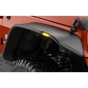For 2007 2018 Jeep Wrangler Jk 2 4 Door Black Flat Fender Flares With Led Lights