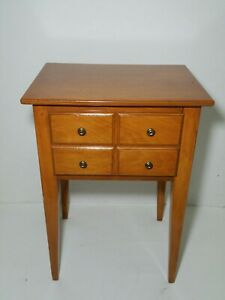 Vintage Butternut Wood Nightstand End Table With 1 Drawer Tapered Legs