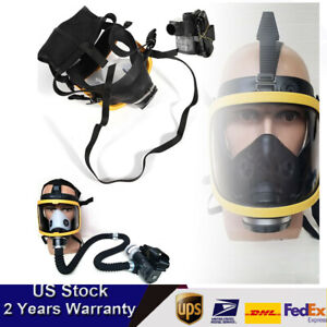 Air Fed Full Face Gas Mask Respirator Air Pump For Spray Painting Welding New