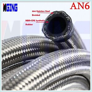 An6 6an An 6 Stainless Steel Braided Transmission Oil Fuel Line Gas Water Hose