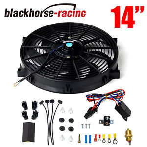 14 Black Electric Radiator Fan High 2000 Cfm Thermostat Wiring Switch Relay Kit