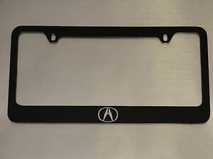 Acura Logo License Plate Frame Glossy Black Metal Brushed Aluminum Text