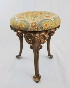 French Provincial Cast Iron Vanity Stool Chair Rams Head Footed Ornate Vintage