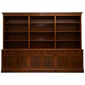 Rrp 8000 Flamed Yew Wood Bradley England Triple Bank Library Bookcase Cupboard