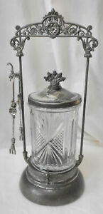 Atq Victorian Style Pickle Castor Ornate Stand Molded Wlidded Glass Jar
