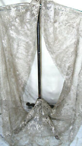 Antique French Wedding Vail Cow Shaw Woven Silver Lace