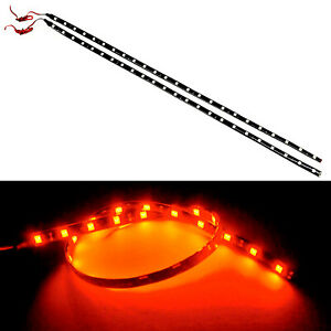 G4 Automotive 2x 24in 60cm Flexible Led Strip 5050 Car Under Dash Light Red