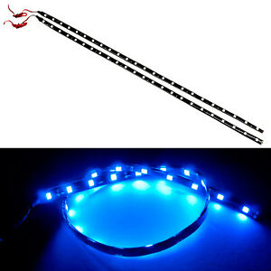 G4 Automotive 2x 24in 60cm Flexible Led Strip 5050 Car Under Dash Light Blue