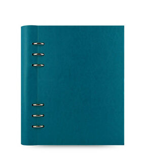Blue Filofax A5 Size Clipbook Leather look Refillable Notebook Petrol Business