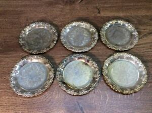 Vintage Set Of 6 Silverplate Godinger Embossed Silver Plate Coasters A7