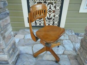Antique Sikes Co Oak Wood Office Chair Swivel Banker Lawyer Industrial Nice